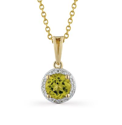 Фото «золотая подвеска с хризолитом и бриллиантами»