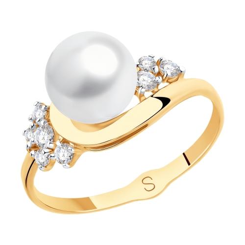 Фото «Золотое кольцо с фианитами и жемчугом SOKOLOV 791116»