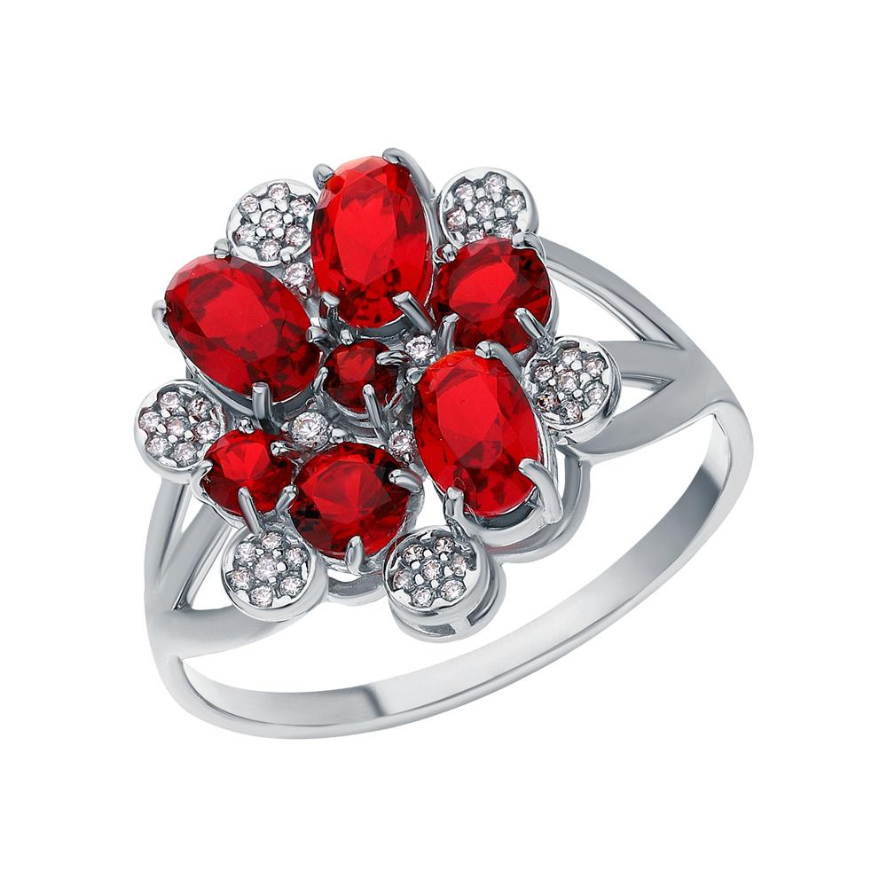 Фото «Серебряное кольцо с фианитами и гранатами синтетическими»