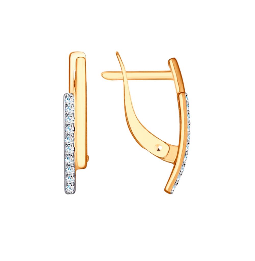 Фото «Золотые серьги с фианитами SOKOLOV 027156»