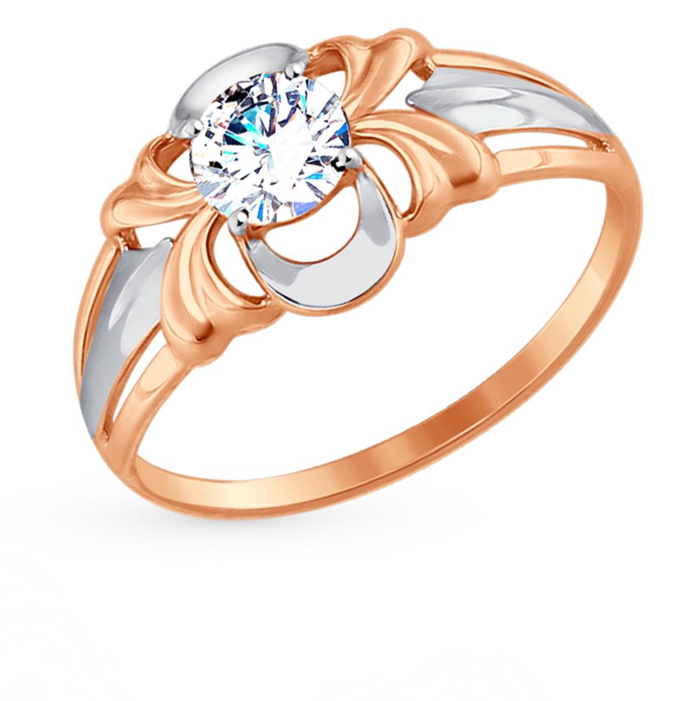 золотое кольцо с фианитами SOKOLOV 017448*