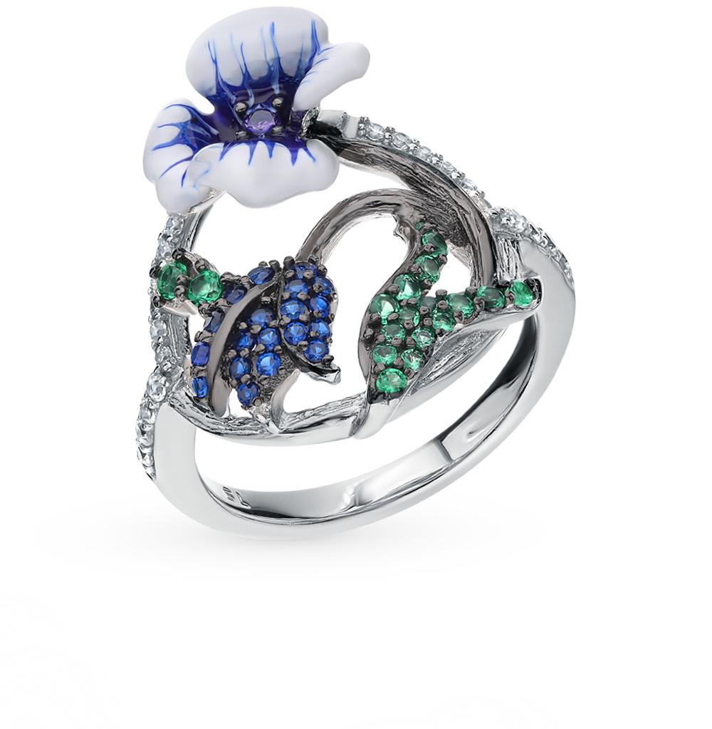 Фото «Серебряное кольцо со шпинелью и эмалью»