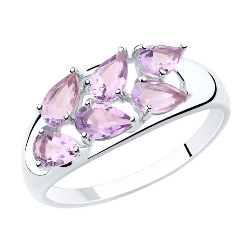 Фото «Серебряное кольцо с аметистом SOKOLOV 92011819»