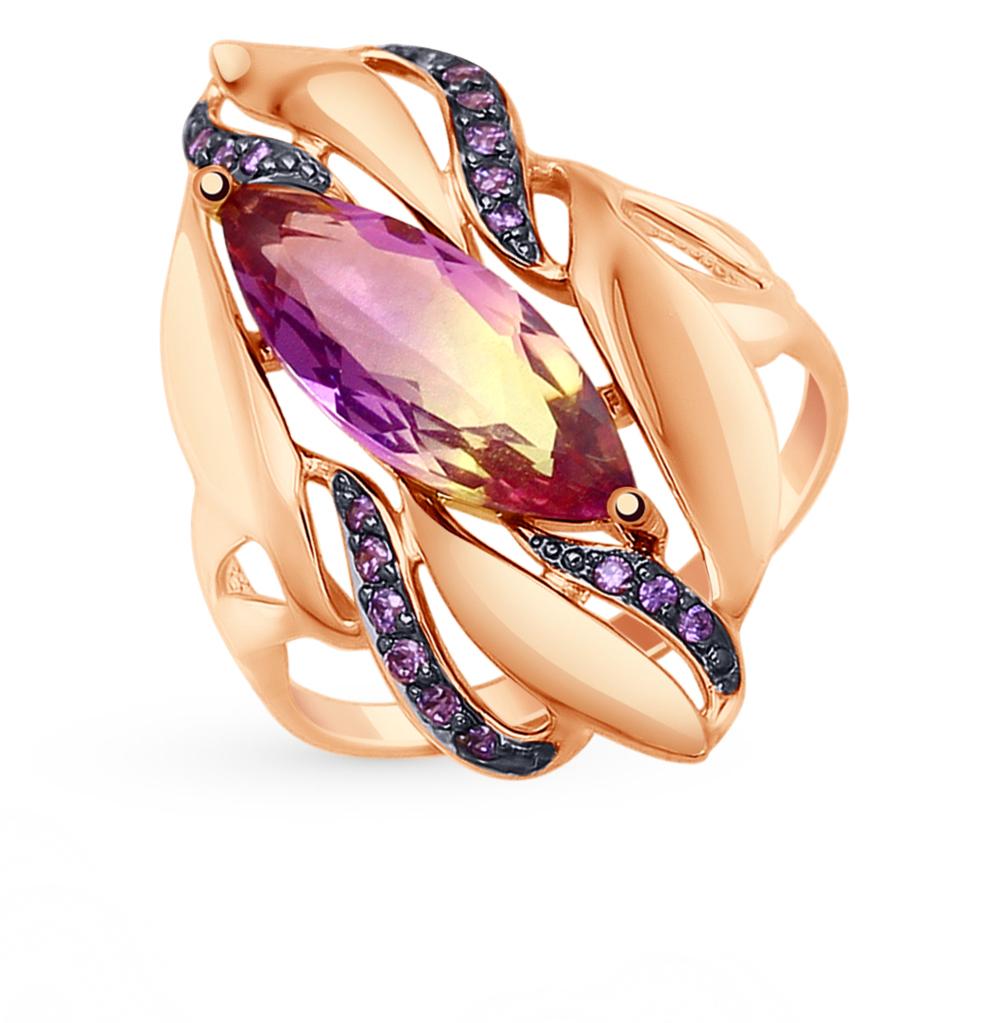 золотое кольцо с фианитами и ситаллами SOKOLOV 714779*