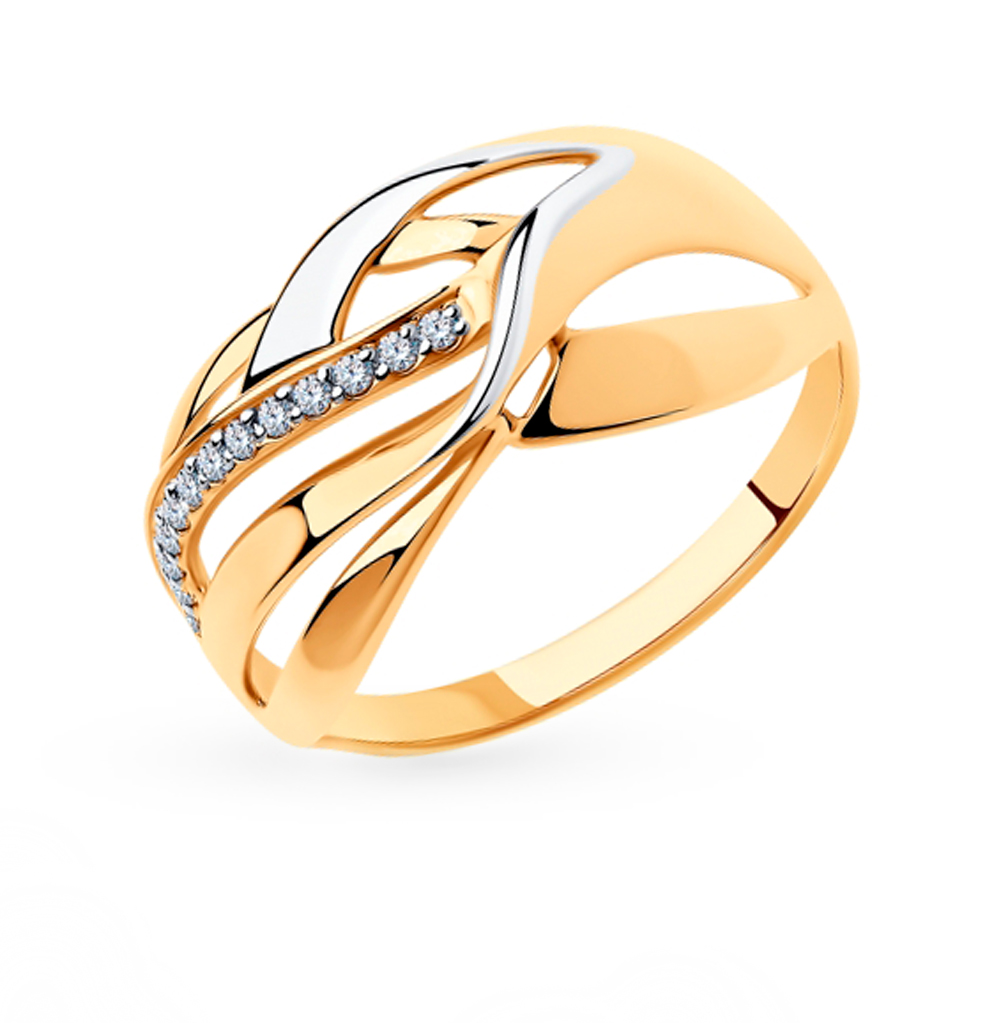 Фото «Золотое кольцо с фианитами SOKOLOV 018313»