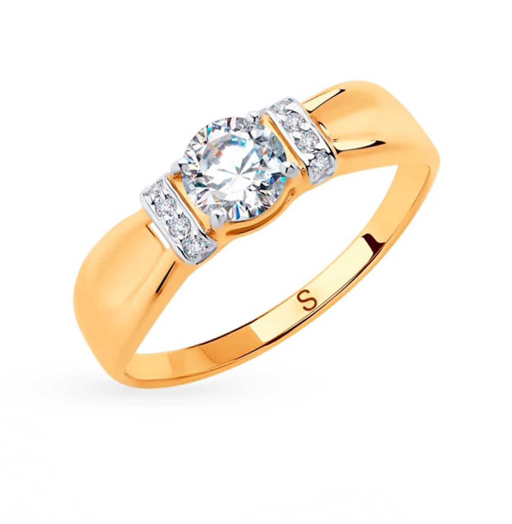 золотое кольцо с фианитами SOKOLOV 018269
