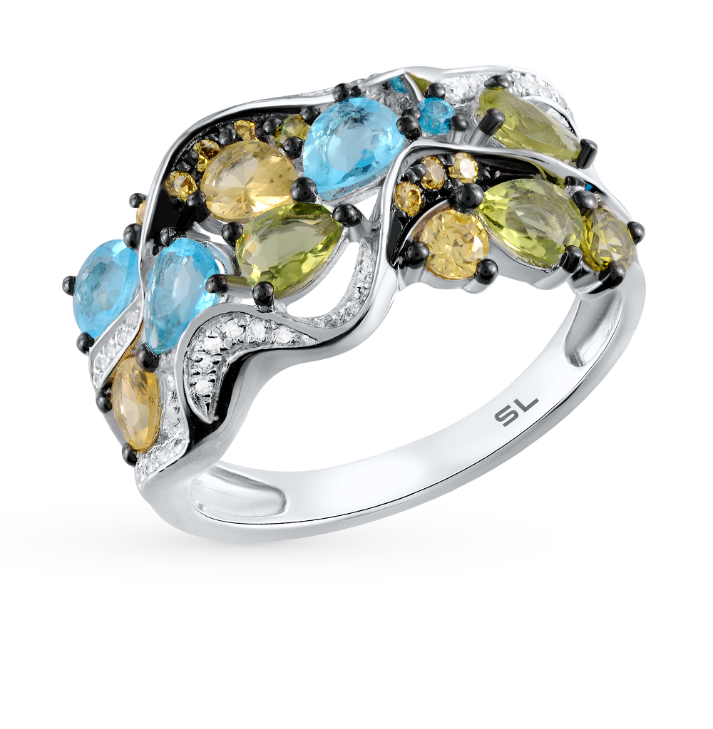 Фото «золотое кольцо с цитринами, топазами, хризолитом и бриллиантами»