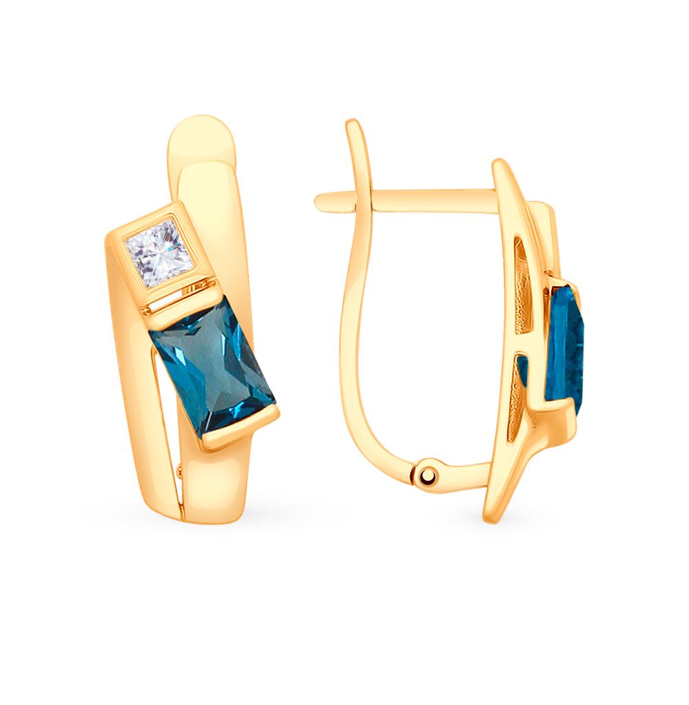 Золотые серьги с топазами и фианитами SOKOLOV 725507 в Санкт-Петербурге