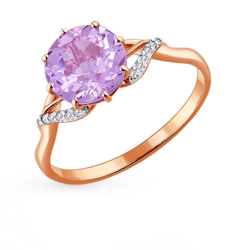 золотое кольцо с аметистом и фианитами SOKOLOV 714010*