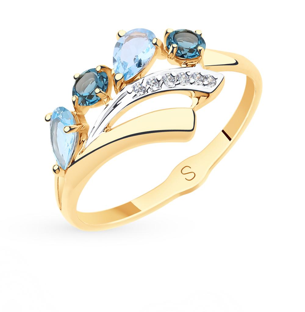 Фото «Золотое кольцо с топазами и фианитами SOKOLOV 715567*»