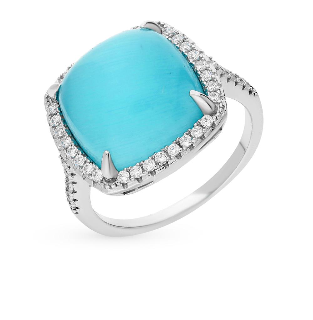 Фото «серебряное кольцо с фианитами и кошачьими глазами»