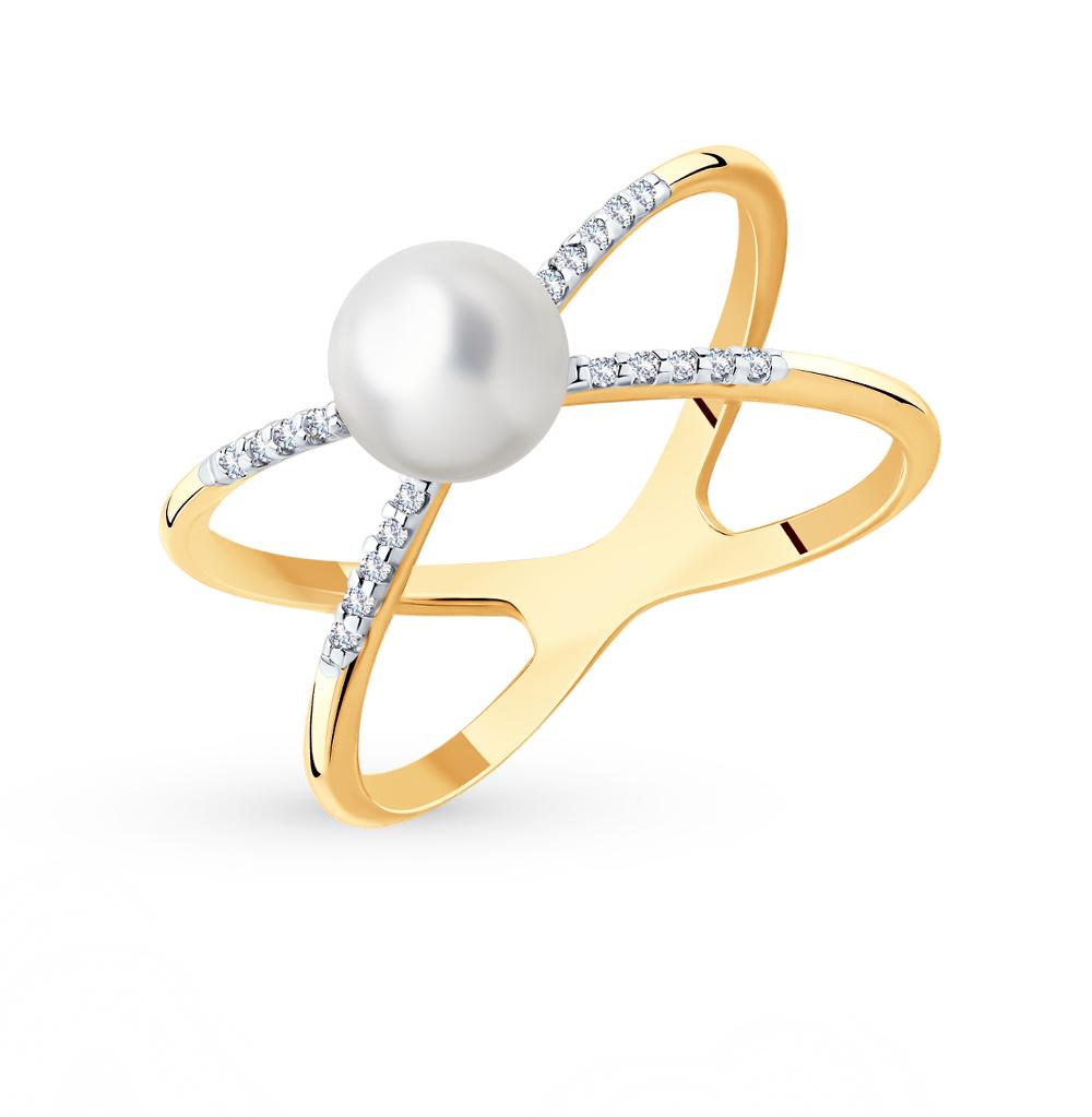 Фото «Золотое кольцо с фианитами и жемчугом SOKOLOV 791144*»