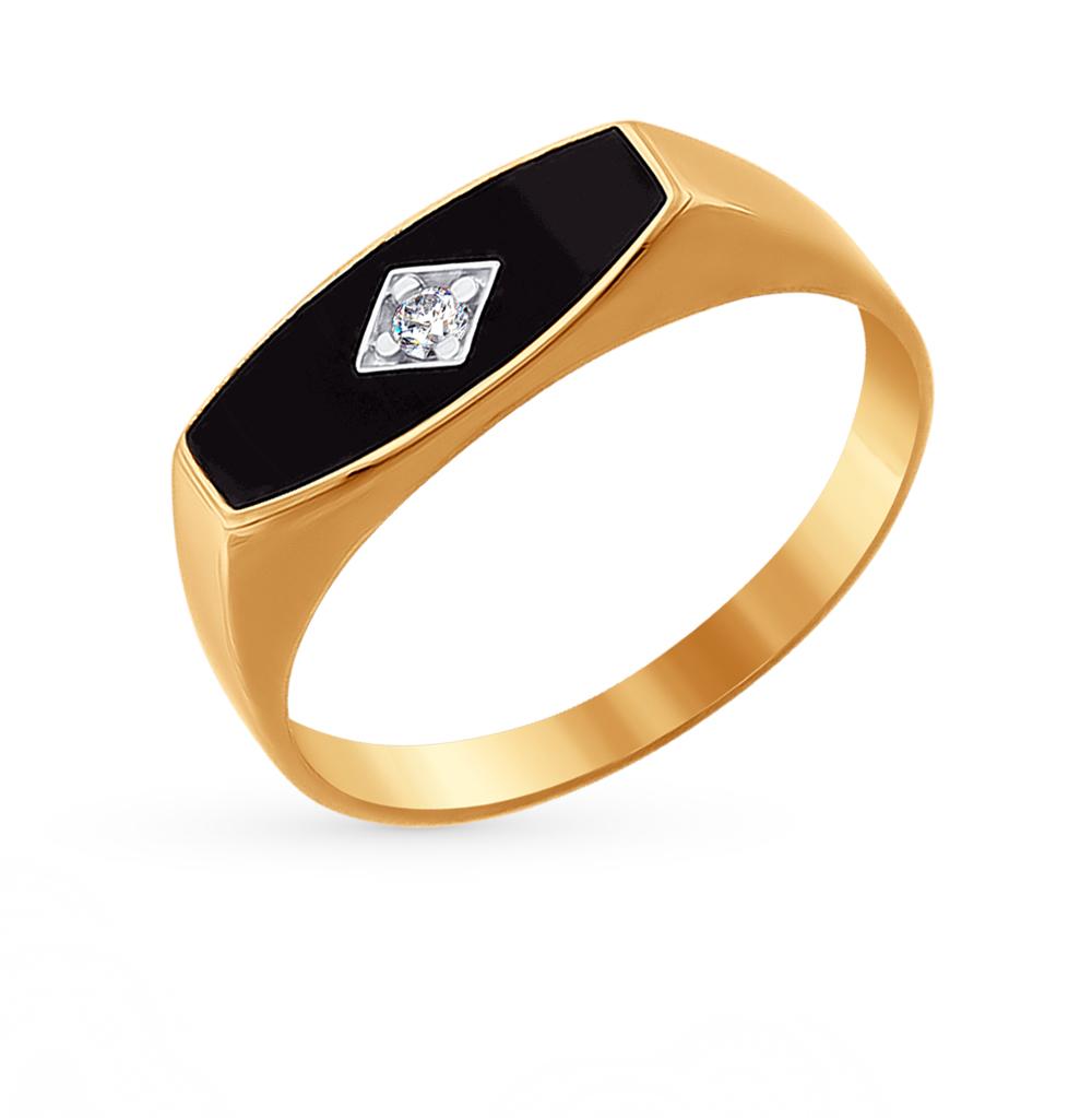 золотое кольцо с фианитами и эмалью SOKOLOV 016722*