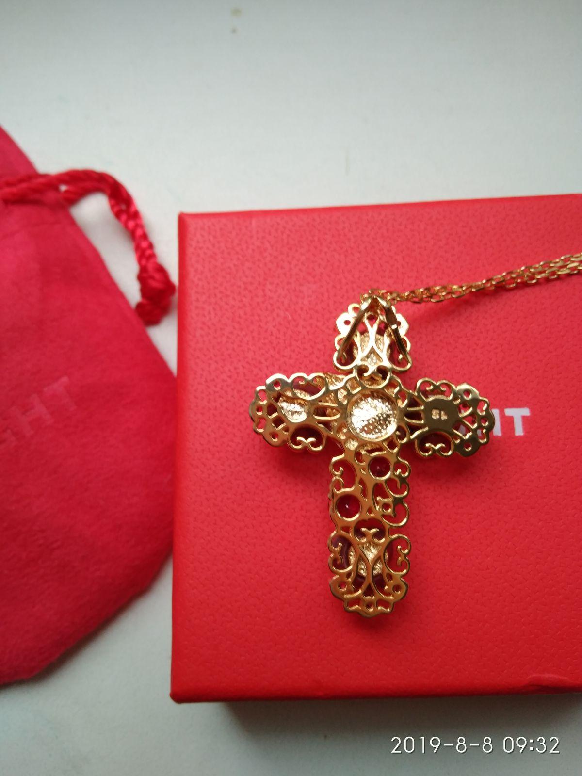 Серебряный крест с кораллами и фианитами