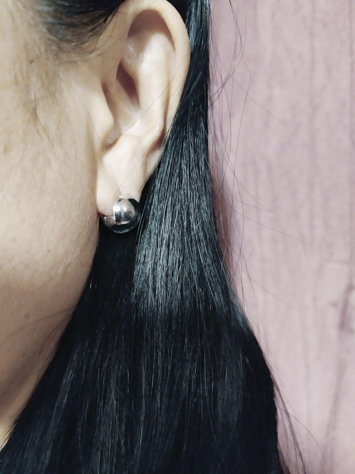 Круглые двухсторонние сережки из серебра