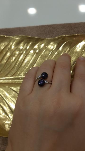 Кольцо с тёмно-синим жемчугом