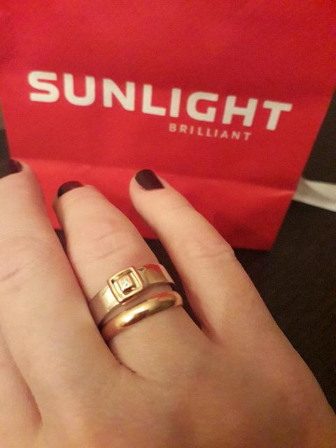 Кольцо из серебра с золотом и бриллиантом