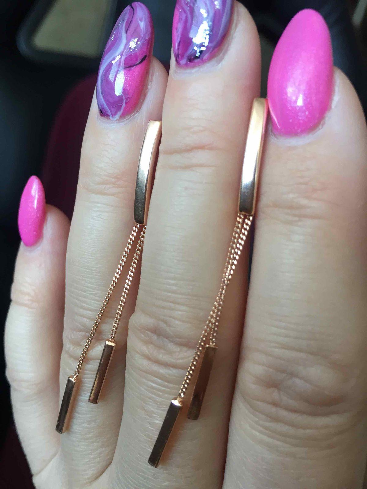Серьги-Висюльки, а-ля «розовое золото»