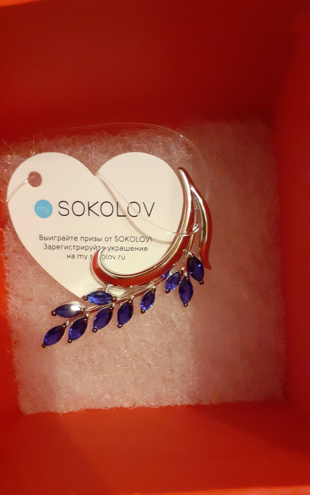 Серебряная брошь Соколов