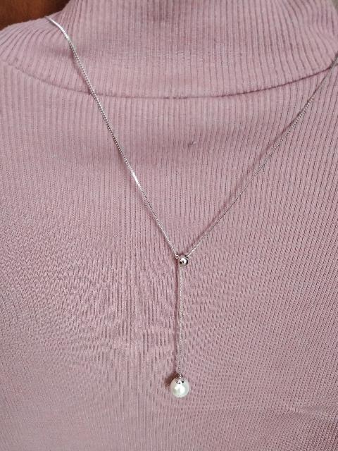Супер серебряная цепочка с жемчужиной