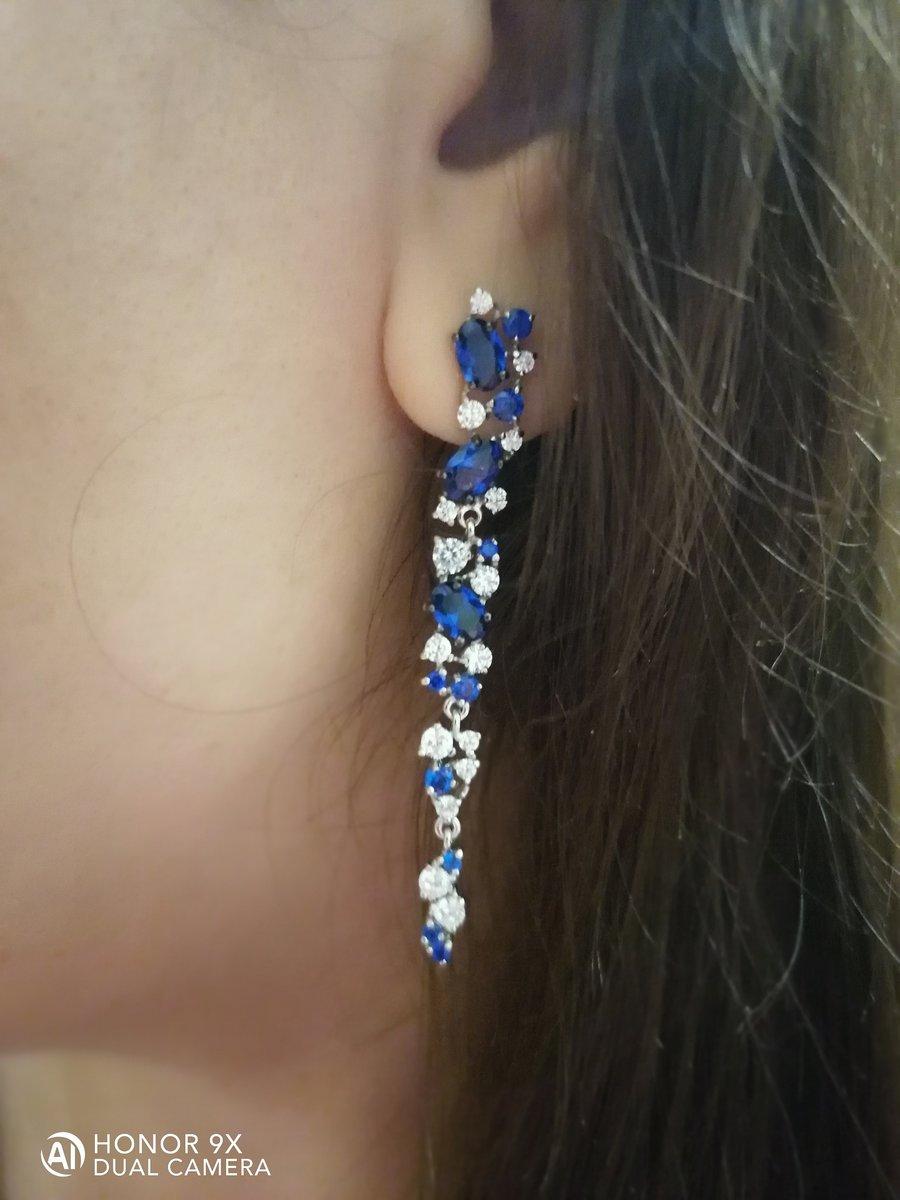 Серьги с синим фианитом (серебро)