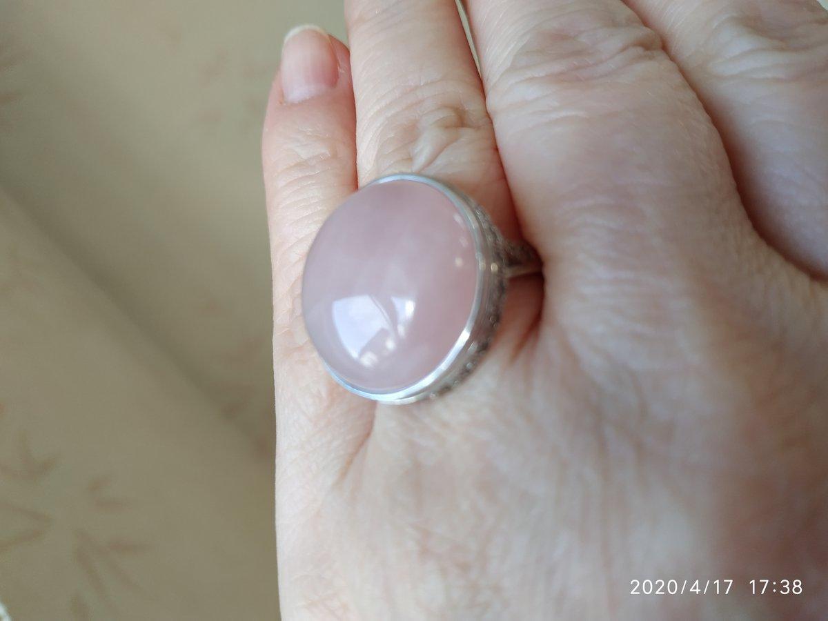 Серебряное кольцо с розовым кврацем