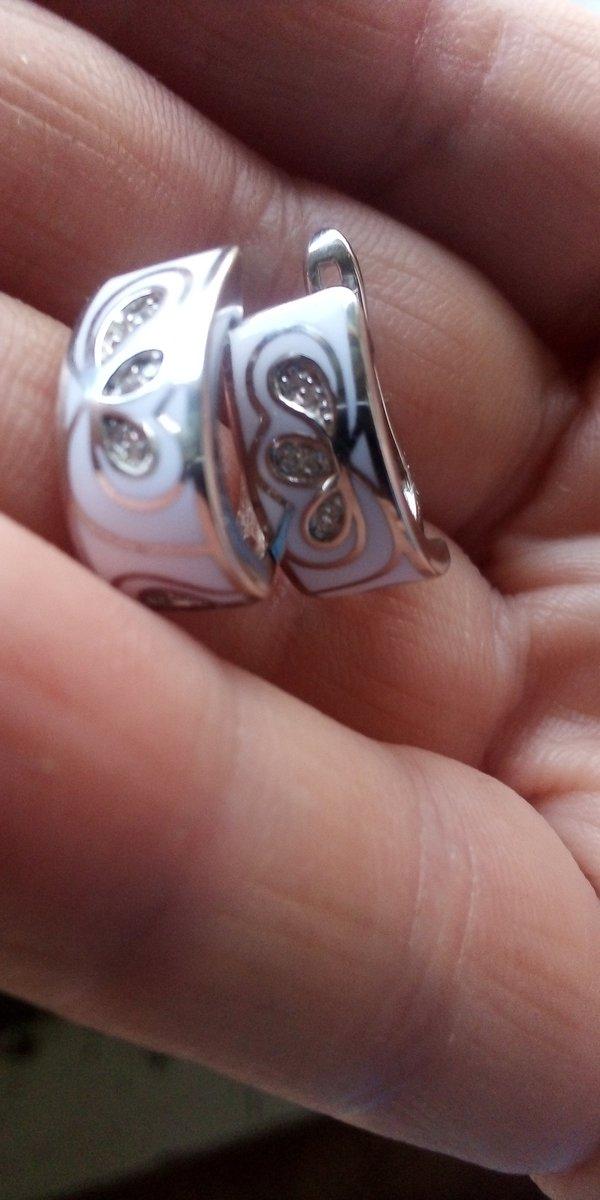 Серьги серебряные со вставками