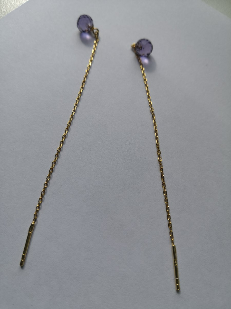 Серьги серебро жёлтого цвета с сиренывыми шариками
