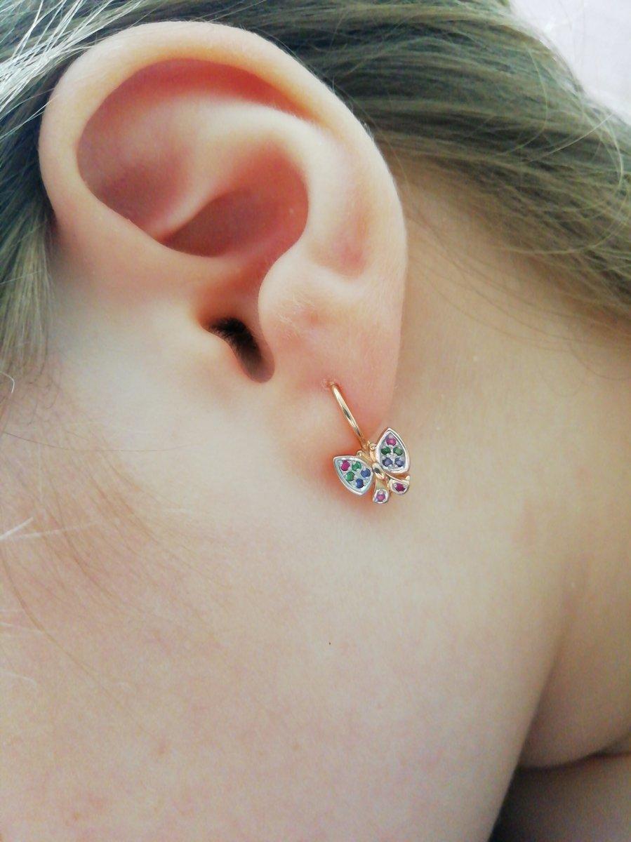 Детские серьги бабочки