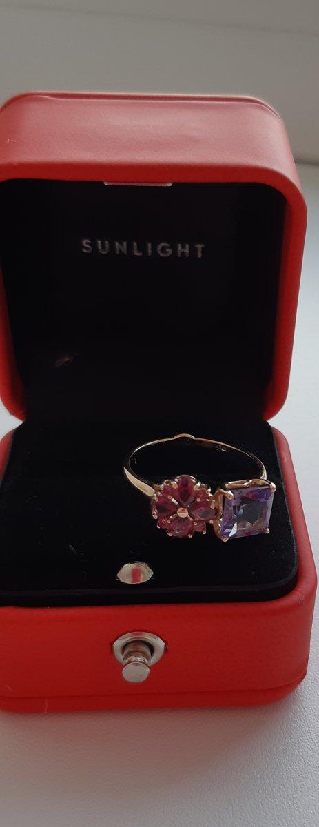 Золотое кольцо с родалитами и аметистом