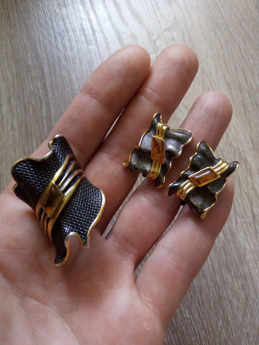 Сережки янтарь, чернение, позолота