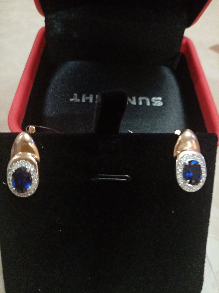 Золотые серьги сапфирами и бриллиантами