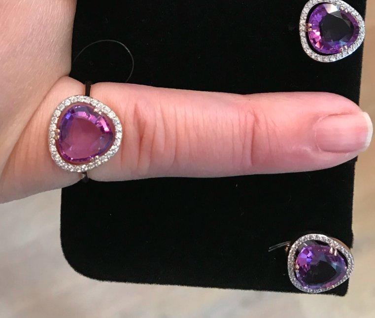 Золотое кольцо размера 16,5 из аметиста