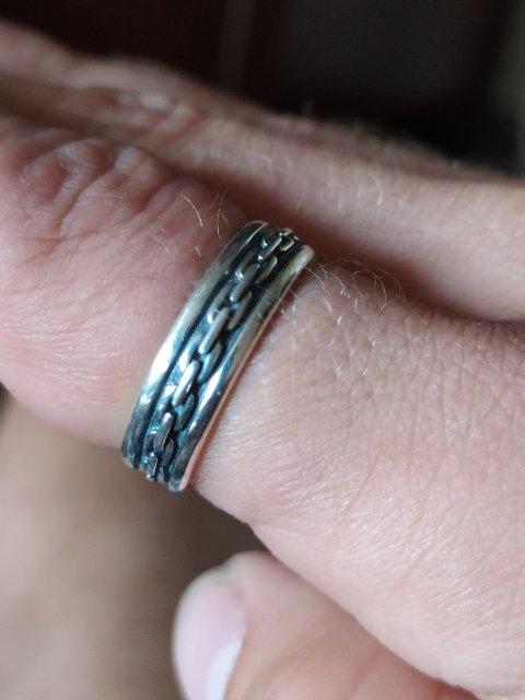 Серебряное кольцо с цепями