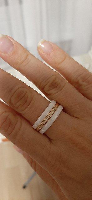 Кольцо белая эмаль