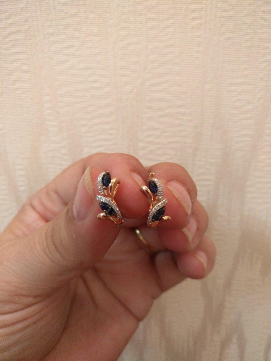 Серёжки сапфир с бриллиантиками