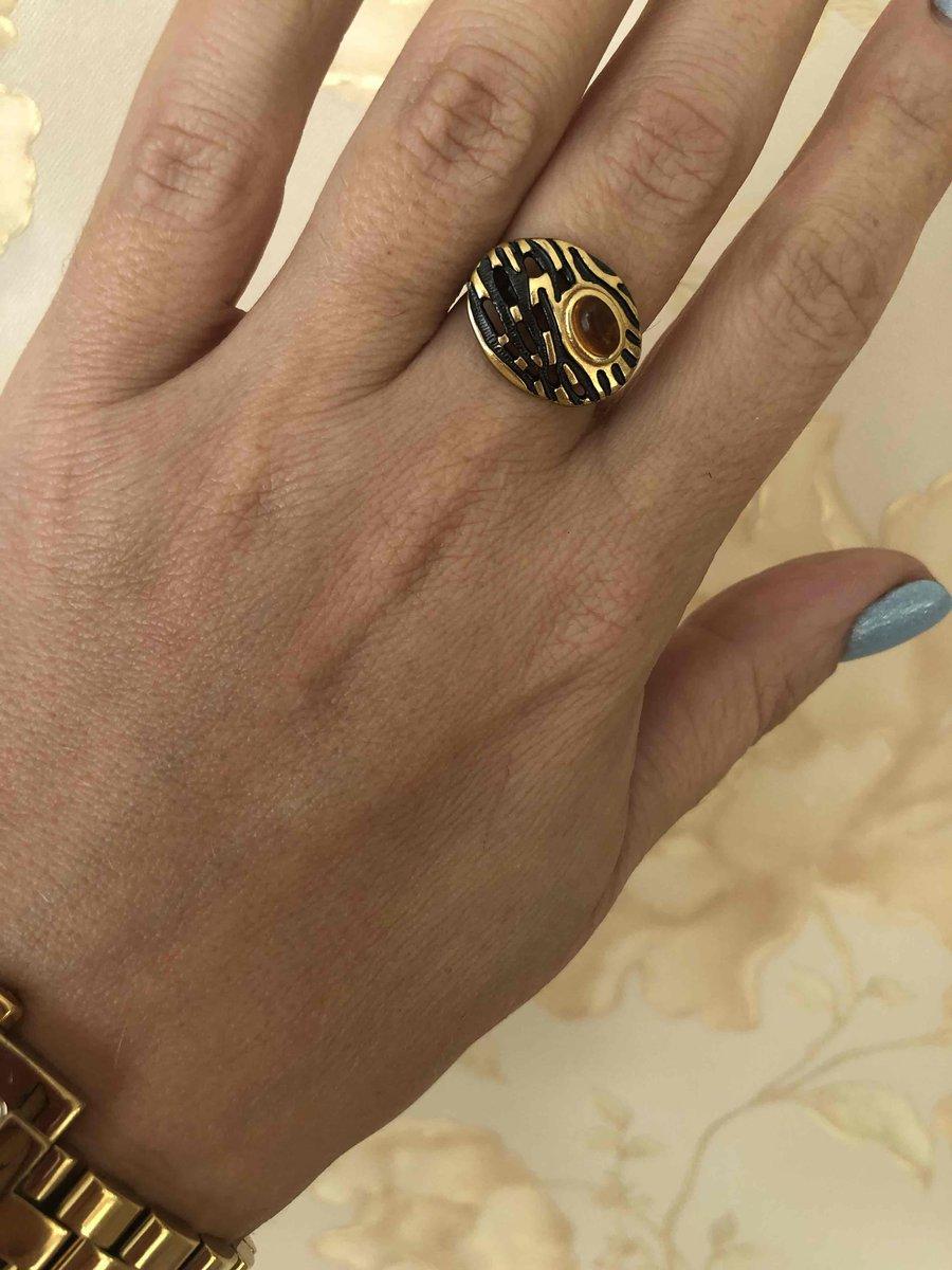 Кольцо тигровое с янтарём