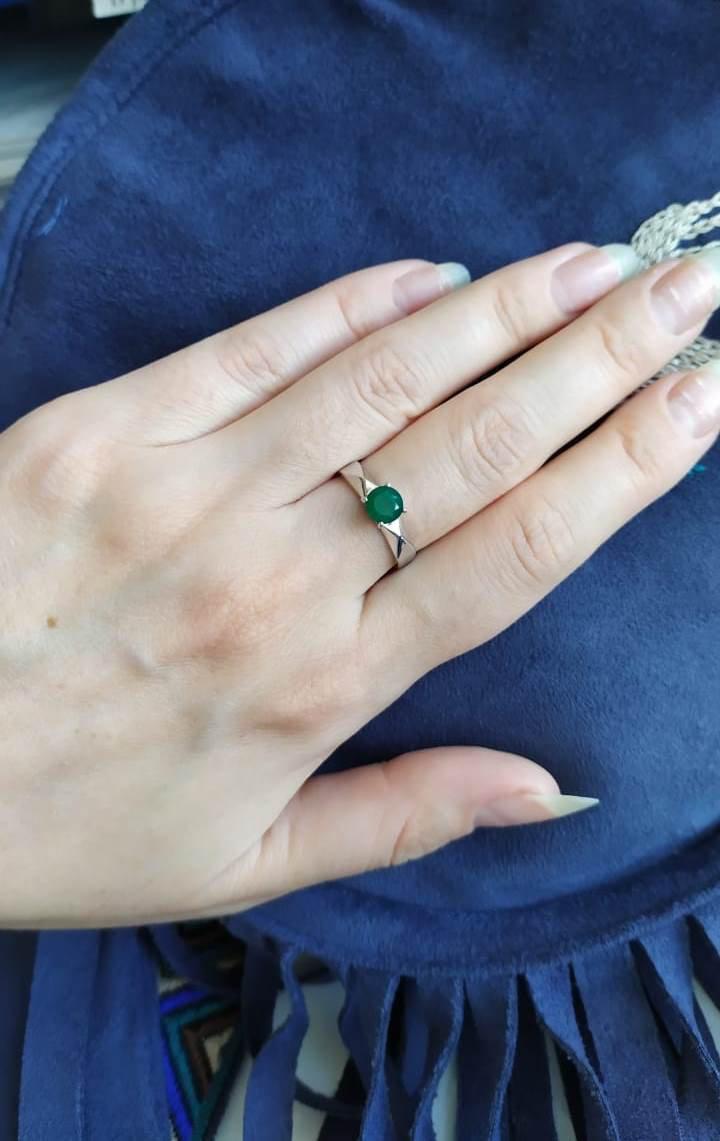 Колечко с зеленым агатом