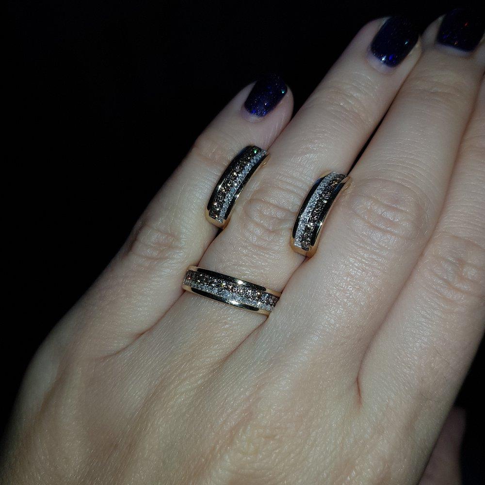 Кольцо с тёмными бриллиантами