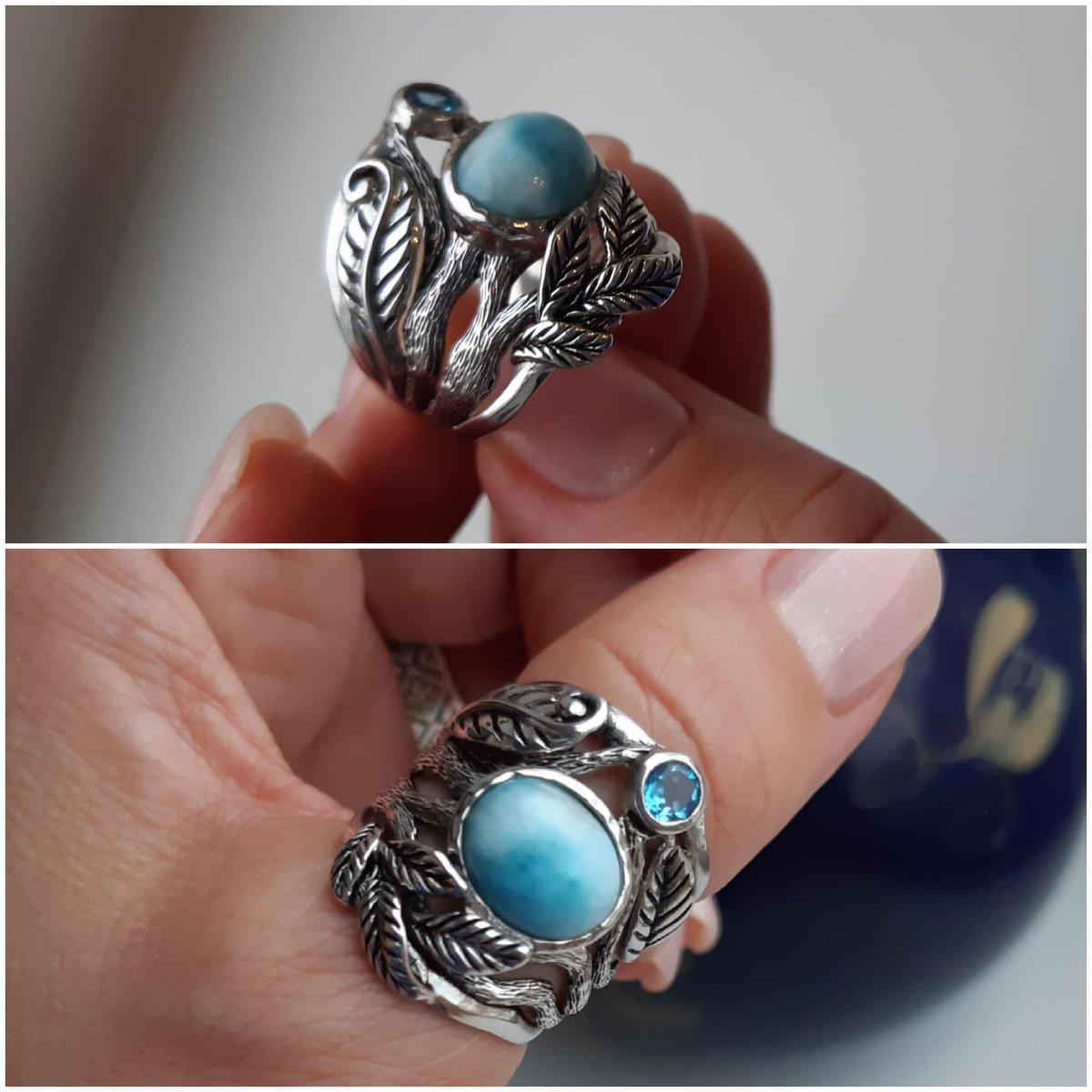 Кольцо с ларимаром и топазом