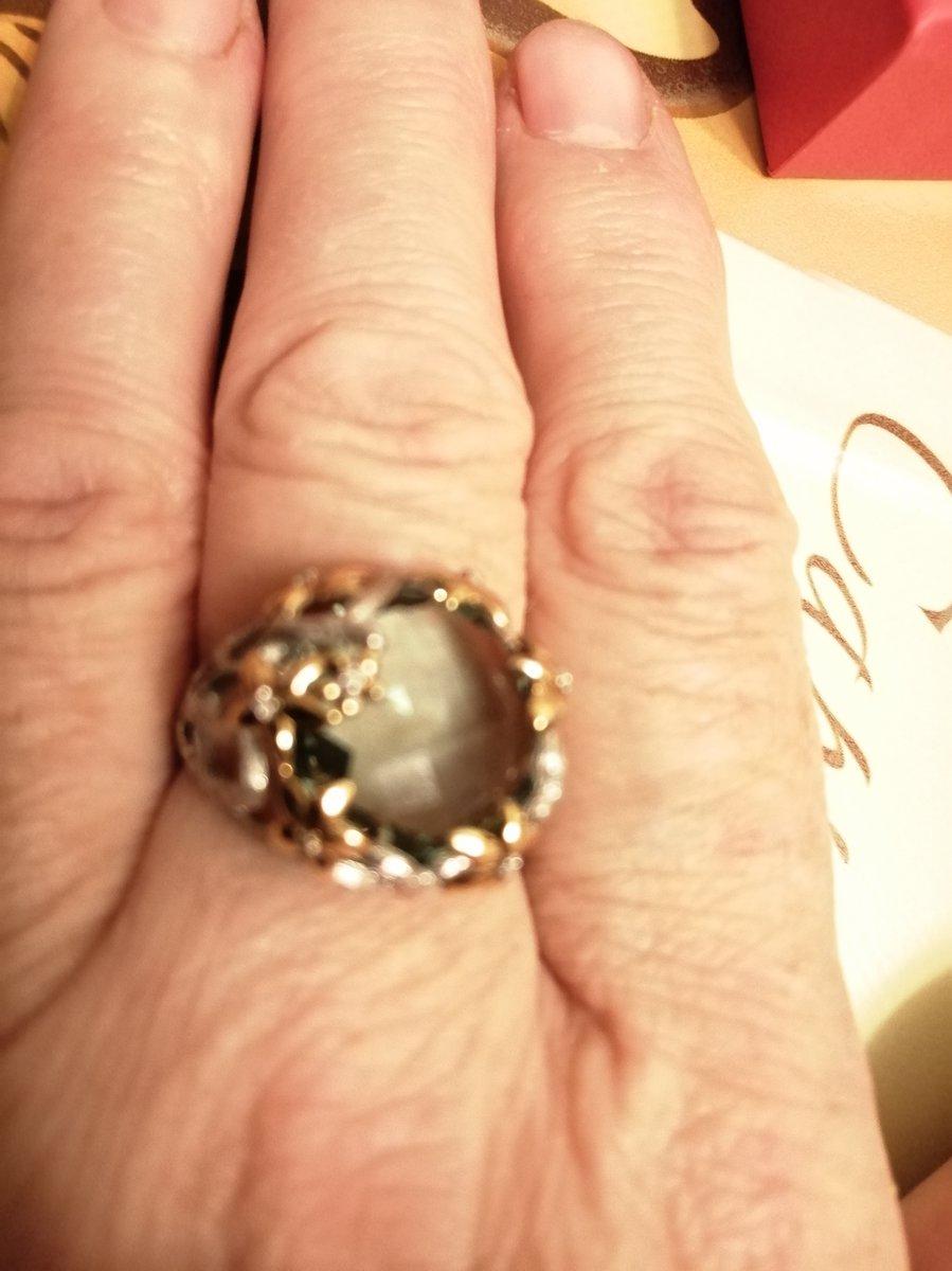 Перстень с зеленым ометистом и бриллиантами