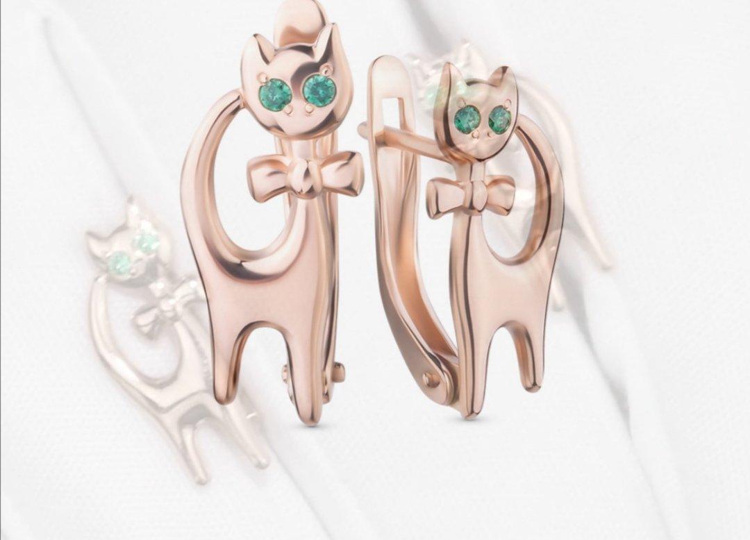 Серьги детские кошки