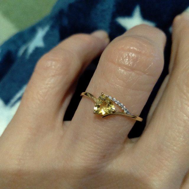 Золотое кольцо с цитрином.