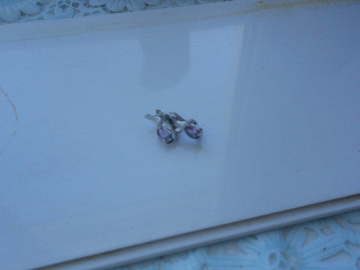 Серебряные серьги с аметистом и фианитами