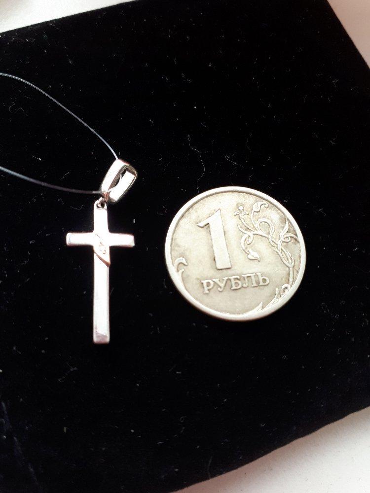 Серебряный крестик с золотом и бриллиантом-стильно, красиво, роскошно!!!