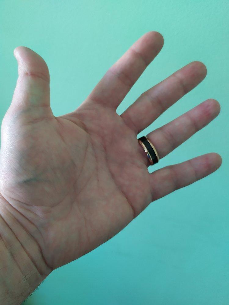 Кольцо okami сталь с карбоном.