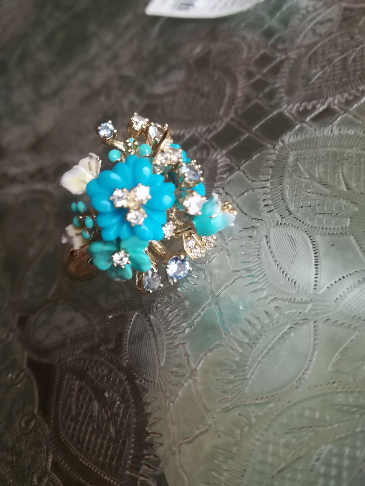 Серебряное кольцо с бирюзой и эмалью