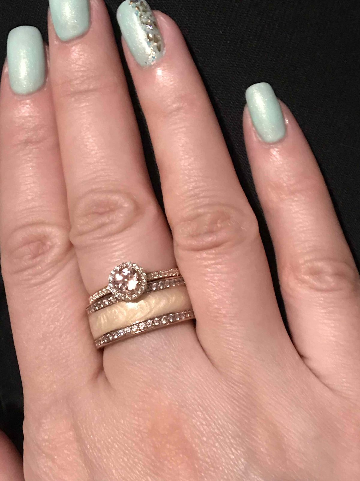Самое нежное кольцо, камень розовый как рассвет