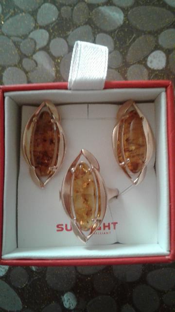 Кольцо с янтарем серебрянные с золотым покрытием