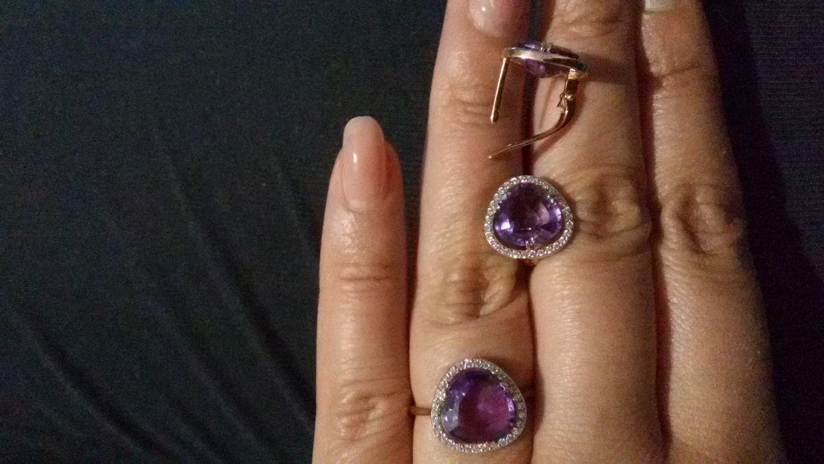 Кольцо с аметистом в комплект к серьгам